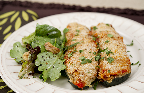 Greek Stuffed Zucchini Keywords: Food, Recipe, Vegetarian, Vegan